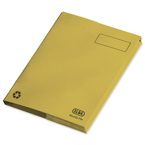 Elba Clifton Flat File with Front Pocket 315gsm Capacity 50mm Foolscap Yellow Ref 100090180 [Pack 25]