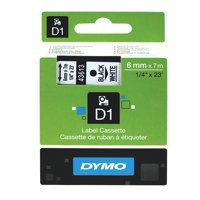 Dymo D1 Tape for Electronic Labelmakers 6mmx7m Black on White Ref 43613 S0720780