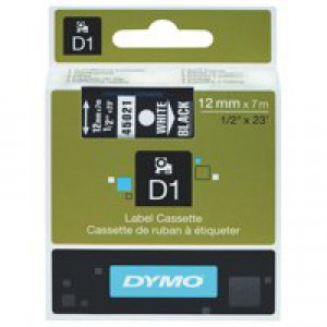 Dymo D1 Tape for Electronic Labelmakers 12mmx7m White on Black Ref 45021 S0720610