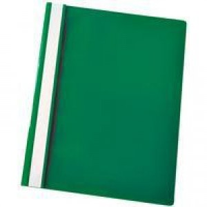 Esselte Report Flat File Lightweight Plastic Clear Front A4 Green Ref 56286 [Pack 25]