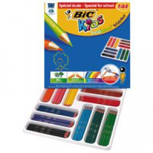 Bic Kids Evolution Pencils Colour Splinter-proof Wood-free Vivid Assorted Ref 880500 [Pack 144]