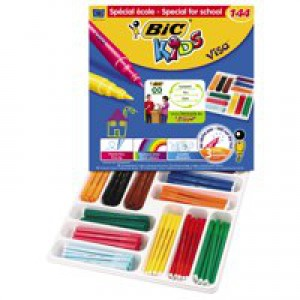 Bic Kids Visa Felt Tip Pens Ultra-washable Water-based Fine Tip Assorted Ref 880504 [Pack 144]