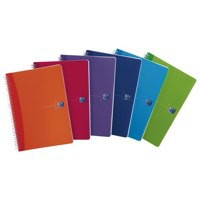 Oxford Office Notebook Twin Wirebound Plastic Ruled 180pp 90gsm A5 Bright Assorted Ref 100104780 [Pack 5]