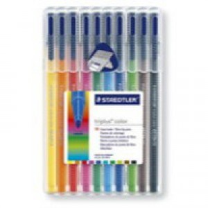 Staedtler Triplus Colour Fibre Tip Pen Assorted Water Based Ink Pack of 10 323SB10