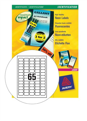 Avery Promotional Mini Labels Laser 65 per Sheet 38.1x21.2mm Neon Yellow Ref L7651Y-25 [1625 Labels]