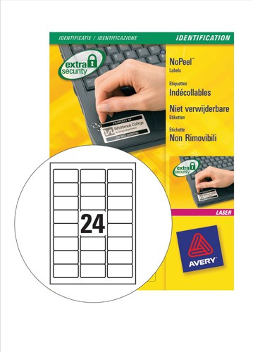 Avery NoPeel Labels Tamper-proof Durable 24 per Sheet 63.5x33.9mm White Ref L6146-20 [480 Labels]