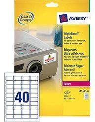 Avery TripleBond Labels Durable 40 per Sheet 45.7x25.4mm White Ref L6140-20 [800 Labels]