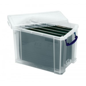 Really Useful Filing Box Plastic with 10 suspension files A4 24 Litre 270x465x290mm Code 24C&10susp