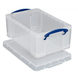 Really Useful Storage Box Plastic Lightweight Stackable 5 Litre W200xD340xH125mm Clear Ref 3x5C [Pack 3]