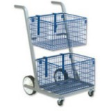 Versapak Major Mail Trolley 2 Large Baskets W555xD735xH940mm Blue and Grey Ref MT2-SIL