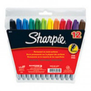 Sharpie Permanent Marker Fine Assorted Wallet 12 Code S0811080