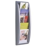 Literature Holder Wall Mount 5 x A5 Pockets Aluminium Silver