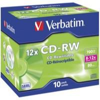 Verbatim CD-RW Rewritable Disk Cased 8x-12x Speed 80min 700Mb Pack 10 Code 43146