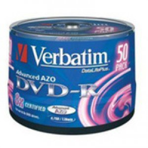 Verbatim DVD-R Recordable Disk Write-once on Spindle 16x Speed 120min 4.7Gb Ref 43548 [Pack 50]