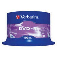 Verbatim DVD+R Recordable Disk Write-once Spindle Pack 50 16x Speed 120min 4.7Gb Code 43550