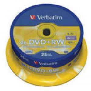 Verbatim DVD+RW Matt Silver Rewritable Disk 1x-4x Speed 120min 4.7Gb Spindle Pack 25 Code 43489