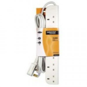 Power Surge Strip with Spike Protection 4 Way 3m White