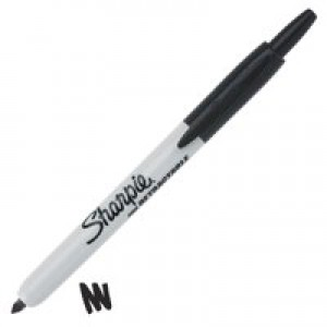 Sharpie Permanent Marker Pen Retractable with Seal Bullet Tip 1.0mm Line Black Ref S0810840 [Pack 12]