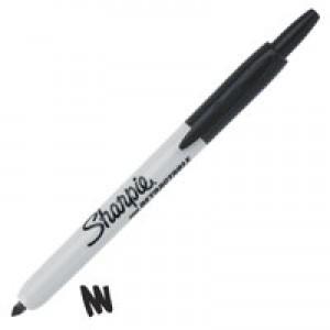 Sharpie Permanent Marker Pen Retractable with Seal Bullet Tip 1.0mm Line Black Ref S0810840 [Pack 12]