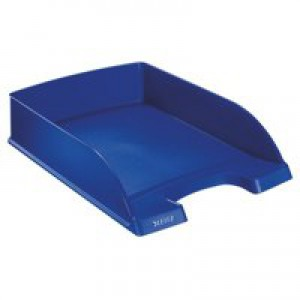 Letter Tray Robust Polystyrene High Sided with Extra Label Space Blue