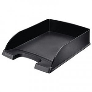 Letter Tray Robust Polystyrene High Sided with Extra Label Space Black