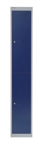 Bisley Locker Deep Steel 2-Door W305xD457xH1802mm Goose Grey/Blue Ref CLK182-7339