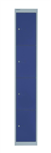 Bisley Locker Deep Steel 4-Door W305xD457xH1802mm Goose Grey/Blue Ref CLK184-7339