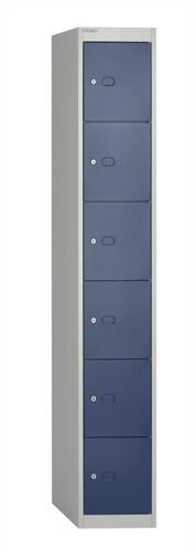 Bisley Locker Deep Steel 6-Door W305xD457xH1802mm Goose Grey/Blue Ref CLK186-7339