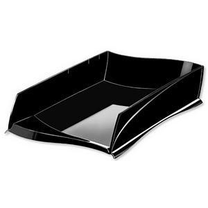 CEP Isis Letter Tray Stackable or to Stagger Robust Elegant Moulded Polystyrene Black Ref 2111816