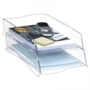 CEP Isis Letter Tray Stackable or to Stagger Robust Elegant Moulded Polystyrene Crystal Ref 2111811