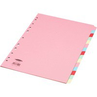 Concord Subject Dividers 230 Micron 15-Part A4 Assorted Ref 71599/J15