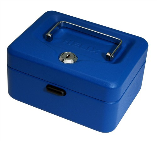 Cash Box with Simple Latch and 2 Keys plus Removable Coin Tray 150mm Blue