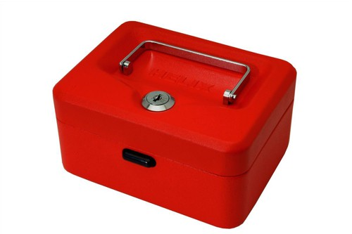 Cash Box with Simple Latch and 2 Keys plus Removable Coin Tray 150mm Red
