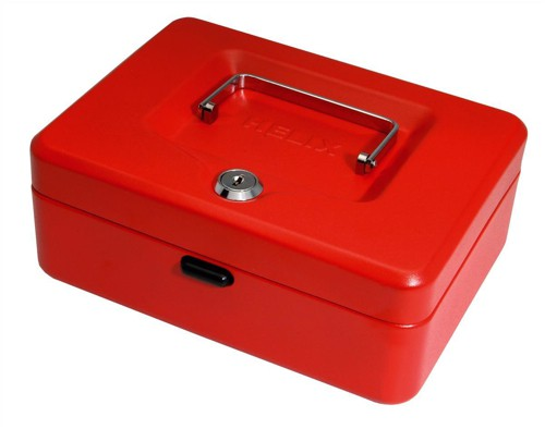 Cash Box with Simple Latch and 2 Keys plus Removable Coin Tray 200mm Red