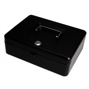 Cash Box with Simple Latch and 2 Keys plus Removable Coin Tray 250mm Black