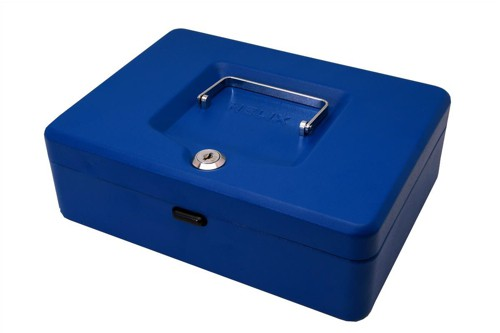 Cash Box with Simple Latch and 2 Keys plus Removable Coin Tray 250mm Blue