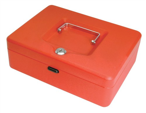 Cash Box with Simple Latch and 2 Keys plus Removable Coin Tray 250mm Red