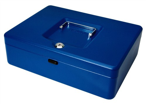 Cash Box with Simple Latch and 2 Keys plus Removable Coin Tray 300mm Blue