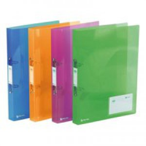 Rexel Ice Ring Binder Polypropylene 2 O-Ring 25mm A4 Translucent Assorted Ref 2102044 [Pack 10]