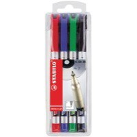Stabilo Write-4-all Permanent Marker Pen Waterproof 0.7mm Line Assorted Ref 156-4 [Wallet 4]