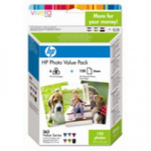 HP No.363 Photo Value Pack 6x Colour Cartridges 10x15cm Paper 150 Sheets Code Q7966EE