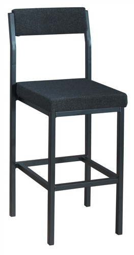 Trexus High Stool with Upholstered Backrest and Seat W410xD410xH700mm Charcoal