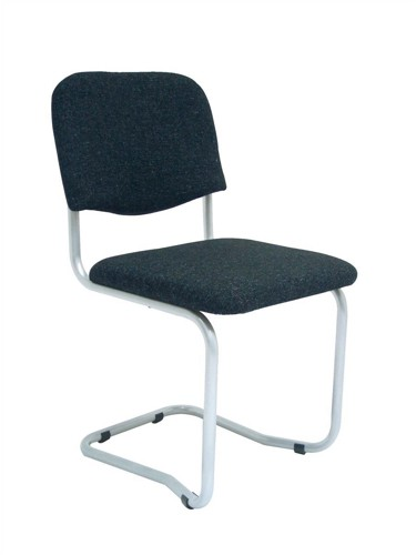 Trexus Cantilever Chair Upholstered Stackable Silver Frame Seat W480xD420xH470mm Charcoal