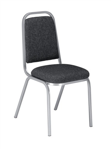 Trexus Banqueting Chair Upholstered Stackable Seat W390xD390xH460mm Charcoal with Silver Frame