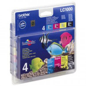 Brother Laser Toner Value Pack Page Life 400/500pp Black/Cyan/Magenta/Yellow Ref LC1000VALBP [Pack 4]