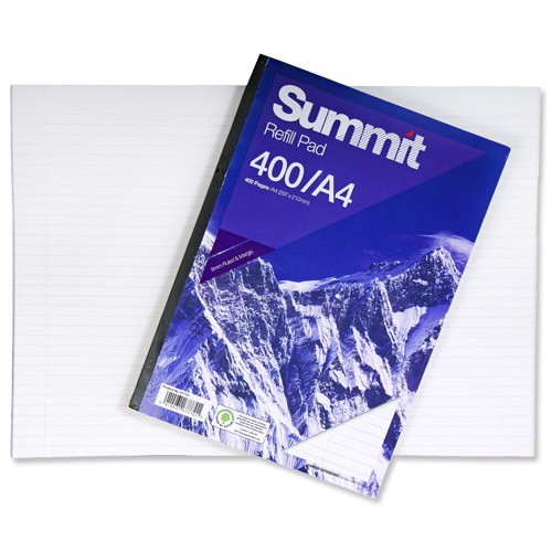 Summit Refill Pad Feint Ruled with Margin 60gsm 400pp A4 White Ref 846200191 [Pack 3]