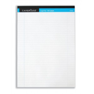 Cambridge Legal Pad Perforated Tear-off Feint Ruled with Margin 100pp A4 White Ref 100080159 [Pack 10]