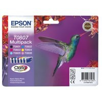 Epson T0807 Inkjet Cartridge Claria Hummingbird 6 Colours Ref C13T08074010 [Pack 6]