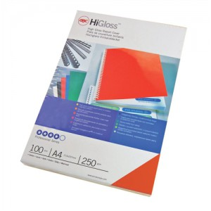 GBC Binding Covers Plain Card 250gsm A4 Gloss Red Ref CE020030 [Pack 50x2]
