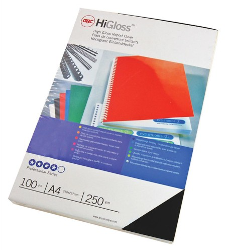 GBC Binding Covers Card Plain 250gsm A4 Gloss Black Ref CE020010 [Pack 50x2]